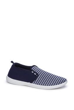 Zudio Navy Stripe Patterned Loafers