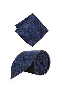 35bb2a5cd27 Peter England Navy Woven Polyester Tie with Pocket Square