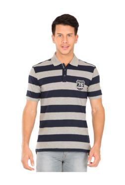 d34c31ddd929f Jockey Grey   Navy Striped Regular Fit Polo T-Shirt - US93