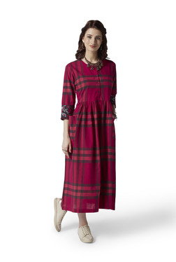 f7d0d6ca5b32 Bombay Paisley by Westside Red Checkered Fit-And-Flare Dress