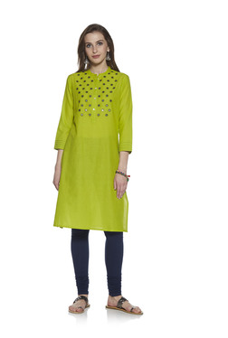 f2d07fd646 Zudio Lime Floral Embroidery A-line Kurta