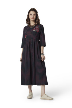 Bombay Paisley by Westside Black Striped Fit-And-Flare Dress 623180f6f