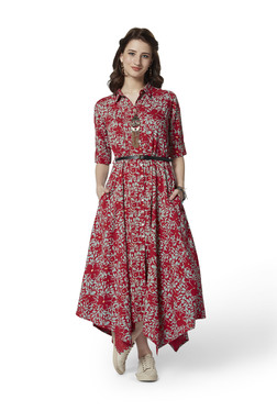 c1d2c06a03a Bombay Paisley by Westside Red Floral A-Line Shirtdress With Belt
