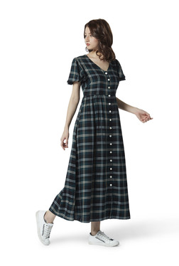 9217a68cdb44 Nuon by Westside Green Check Print Maxi Dress
