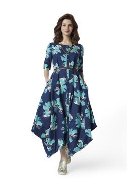9110a62146c01 Bombay Paisley by Westside Indigo A-Line Dress With Belt