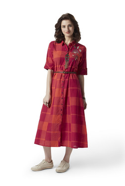 4273d7eeae Bombay Paisley by Westside Pink A-Line Shirtdress With Belt