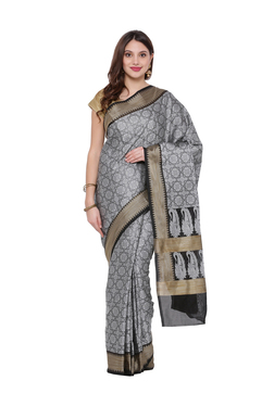 2a94efb7a5ab54 Avishi Black   Grey Woven Pattern Saree With Blouse
