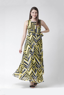 d7fdf5644459 The Vanca Yellow   Grey Printed Maxi Dress