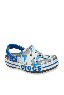 0bdbd447d Crocs Bayaband Graphic II Grey   Blue Back Strap Clogs