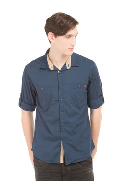 3f9fbe625 Colt Steel Blue Cotton Slim Fit Shirt