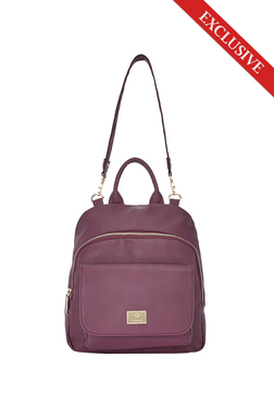 Caprese Olivia Plum Solid Convertible Backpack