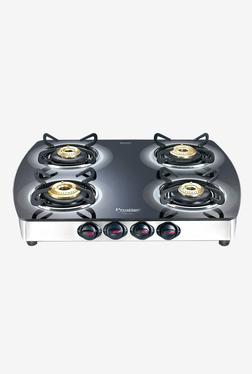 Prestige Premia GTSM 4 SS 40272 4 Burners Gas Stove (Black/Silver)