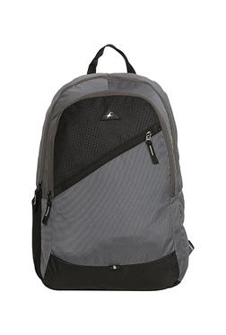 f65c6db074 Fastrack Grey   Black Color Block Polyester Backpack