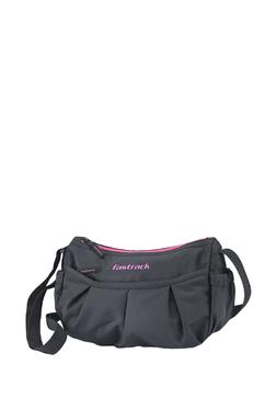 Fastrack Black Solid Polyester Sling Bag 7fe0d9573aaf5