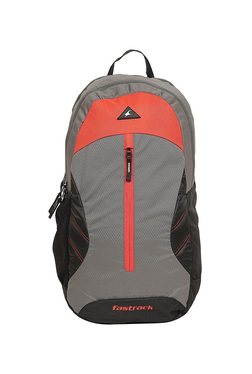 2b7da2fff4eb Fastrack Grey   Red Solid Polyester Backpack