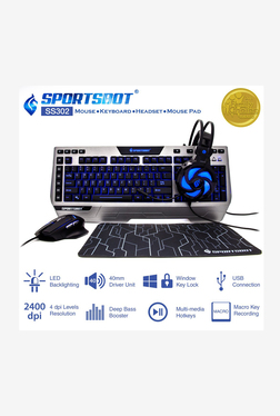 SportsBot SS302 4-In-1 Led Gaming Over-Ear Headset, Keyboard, Mouse Pad and Mouse Combo Set (Grey)