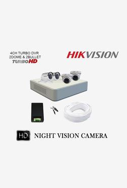 Hikvision Turbo 720P 4 Channel DVR 2 Dome 2 Bullet HD CCTV Camera Kit (White/Black)