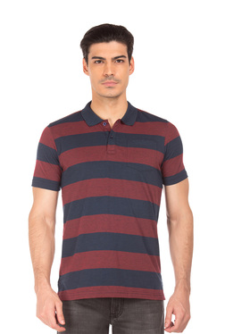 28e1ddc3c37 Roots by Ruggers Maroon   Blue Striped Polo T-Shirt