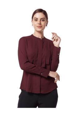 e5fa234d3 Wardrobe by Westside Wine Pleat Detailed Shirt