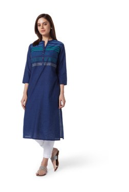 4050431f3 Utsa by Westside Indigo Embroidered A-Line Kurta