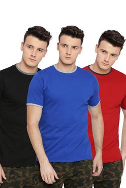 24b7d4c87c Basics Red   Black   Blue Crew T-Shirt - Pack ...