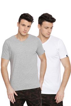 c09b904769 Basics White   Grey V Neck T-Shirt - Pack ...