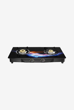 Pigeon Spark Square Glitter 2 Burner Gas Cooktop (Black)