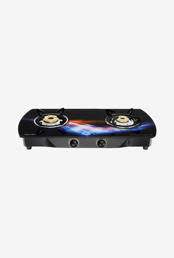 Pigeon Spark Oval Glitter 2 Burner Gas Cooktop (Black)