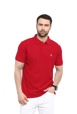 Red Tape Red Polo Collar Cotton T-Shirt
