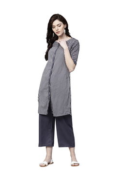 3851d8020 Ishin Navy Cotton Striped Kurti Palazzo Set