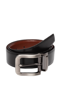 d9b09b68a3c Teakwood Leathers Black   Brown Solid Leather Reversible Belt