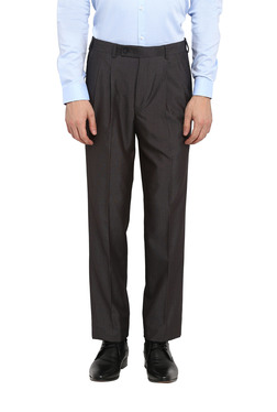 3365029a242 Park Avenue Grey Pleated Regular Fit Trousers