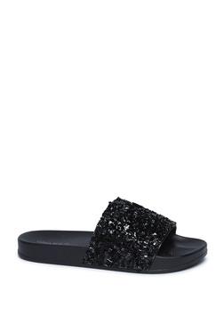 c9296db5be678 LUNA BLU by Westside Black Glitter Slides