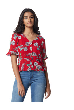 f5185e44a259 Nuon by Westside Red Floral Print Dottie Top