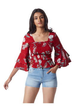 f11cd54ee3a281 Nuon by Westside Red Floral Print Craig Top