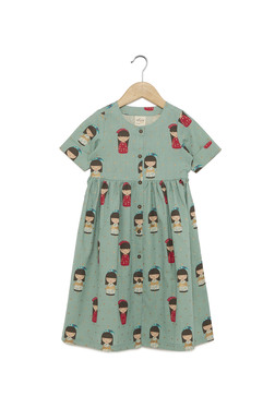 Utsa Kids by Westside Teal Flex Doll Print Dress 58353fb42