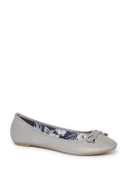e7872093b529 LUNA BLU by Westside Grey Bow Detailed Ballet Flats