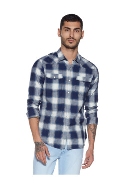 4f3c214103b Nuon by Westside Indigo Checkered Slim Fit Shirt