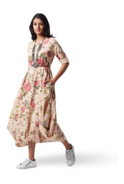 Bombay Paisley by Westside Pink Floral Print Dress With Belt fdedd3333