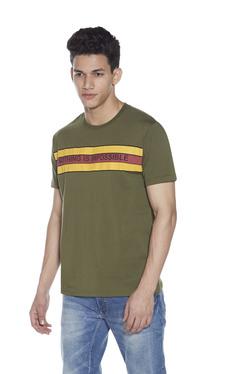 d36fd03f24527e Zudio Olive Text Print T-Shirt