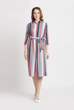 9aaf72c280d5 Coverstory Navy Striped Knee Length Dress