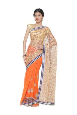 7c0b2357503 Chhabra 555 Orange   Beige Embroidered Silk Saree With Blouse