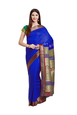 c667a1b971f131 Chhabra 555 Royal Blue Zari Work Banarasi Silk Saree With Blouse