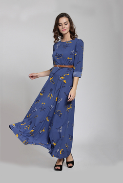 79ff46a74f0 PlusS Blue Floral Print Maxi Dress