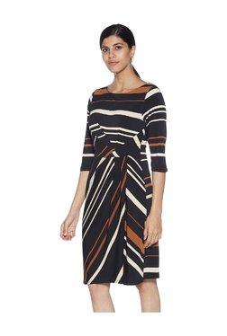 be93c60f536f91 Wardrobe by Westside Black Striped Pattern Strobe Dress