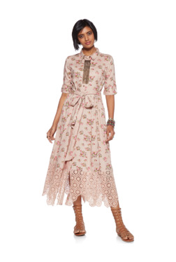 0736c1529dba Bombay Paisley by Westside Peach Floral Shirtdress With Belt