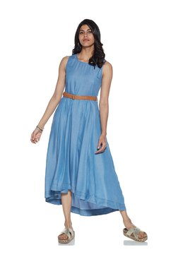 LOV by Westside Blue Chambray High-Low Dress With Belt 87fc18da1