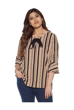 111c85413a3d2 Gia curve by Westside Beige Striped Print Marissa Top