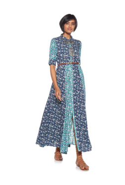 2d57e0baa0744 Bombay Paisley by Westside Indigo Belted Floral Shirtdress