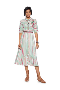 Bombay Paisley by Westside Green Stripe Shirtdress With Belt e91930d2f